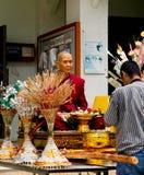 Wax Buddhist monks. Men respect wax buddhist monks ,Beliefs and faith royalty free stock photos