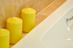 Wax candle in SPA room Stock Photos