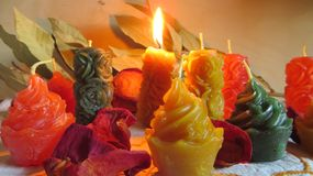 Wax candles and decorations in a simple composition. Wax candles in rose and cake shapes and in diffirent colors in a simple composition with leaves and petals stock image