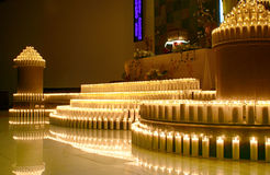 Wax candles inside a church Royalty Free Stock Photography