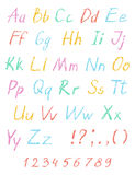Wax crayon child`s drawing alphabet. Pastel chalk font. ABC drawing letters. Royalty Free Stock Images