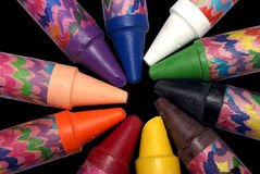 Wax crayon circle stock photos