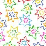Wax crayon kid`s drawn colorful stars isolated on white. stock illustration