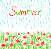 Wax crayon kid`s hand drawn red flowers with green grass, rain shower and text. Stock Photos