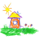 Wax crayon like child`s hand drawing house, cat, sun and grass. Stock Photo
