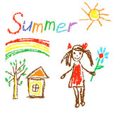 Wax crayon like kid`s drawn summer background with house, tree, girl, flower, rainbow. vector illustration