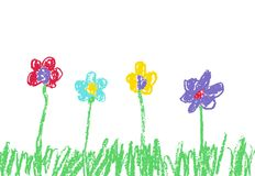 Wax crayon like kid`s hand drawn colorful flowers with green grass. Stock Images