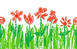 Wax crayon like kid`s hand drawn red flowers with green grass on white.  Royalty Free Stock Photography