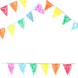 Wax crayon party bunting. Isolated on white background stock illustration