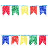 Wax crayon party bunting Royalty Free Stock Photos
