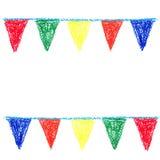 Wax crayon party bunting Stock Photos