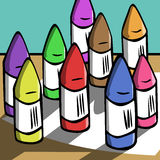 Wax crayon vector illustration Stock Image