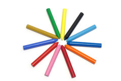 Wax crayons. Colorful wax crayons arranged in star shape Stock Image