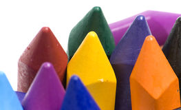 Wax crayons. Close-up wax crayons, mixed group on white background Royalty Free Stock Image
