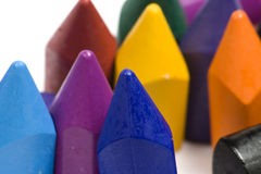 Wax crayons. Close-up wax crayons, mixed group on white background Stock Photos
