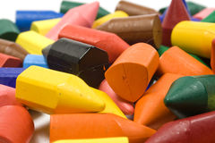 Wax crayons. Several colors, large mixed group stock images