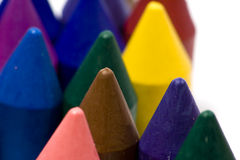 Wax crayons. Close-up wax crayons, mixed group on white background stock photo