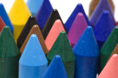 Wax crayons. Close-up wax crayons, mixed group on white background Royalty Free Stock Images