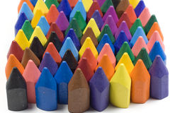 Wax crayons. Mixed group on white background Stock Photos