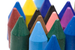Wax crayons. Close-up wax crayons, mixed group on white background Royalty Free Stock Photo