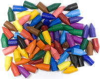 Wax crayons. Mixed group on white background stock images