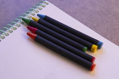 Wax crayons royalty free stock photo