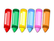 Wax crayons colour isolated illustration Stock Photos
