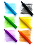 Wax crayons. Colours wax crayon isolated on white background Royalty Free Stock Photos