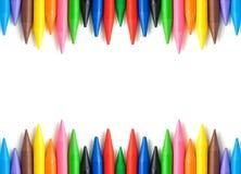 Wax crayons frame Royalty Free Stock Photos