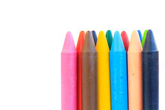 Wax crayons isolated on white background Royalty Free Stock Photos