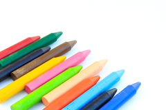 Wax crayons isolated on white background Stock Photos