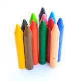 Wax crayons isolated on white background Royalty Free Stock Photo