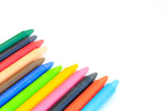 Wax crayons isolated on white background Royalty Free Stock Images