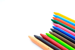 Wax crayons isolated on white background Stock Photo