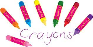 Wax crayons. Seven cartoon wax crayons of various colors vector illustration
