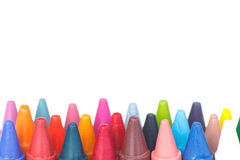 Wax crayons on white background Royalty Free Stock Photo