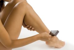 Wax depilatory on legs Stock Image