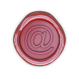 Wax email sign. Isolated on white background Stock Photos
