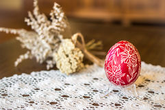 Wax-embossed Easter egg, Easter decoration, Easter folkart, spring decor Royalty Free Stock Images