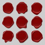Wax förseglar Gummicertifikatstämpel, realistisk röd stearinskyddsremsa, kunglig medeltida präglad stämpel Gammal etikett för vek stock illustrationer