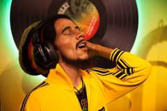 Wax figure of Bob Marley singer in Madame Tussauds Wax museum in Amsterdam, Netherlands. Amsterdam, Netherlands - March, 2017: Wax figure of Bob Marley singer in royalty free stock photos