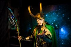 Wax figure of Loki fictional character from American comic books in Madame Tussauds Wax museum in Amsterdam, Netherlands. Amsterdam, Netherlands - March, 2017 Royalty Free Stock Photo