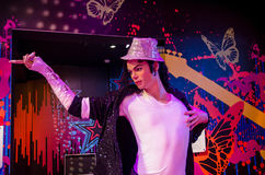 The wax figure of Michael Jackson in Madame Tussauds Singapore. Singapore - September 15,2015 : The wax figure of Michael Jackson in Madame Tussauds Singapore Royalty Free Stock Photo