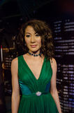 The wax figure of Michelle Yeoh in Madame Tussauds Singapore. royalty free stock photography