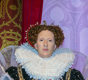 Wax figure of Queen Elizabeth I  At Madame Tussauds Museum. London Stock Image