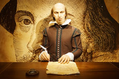 Wax figure of William Shakespeare. HONG KONG, China. April 21, 2017: Picture of wax figure of William Shakespeare at Madame Tussauds museum in Hong Kong, China Stock Images