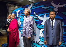 Wax figures of Nelson Mandela, Dalai Lama ,  Martin Luther King, Jr. in  Madame Tussauds museum in London. Stock Photos