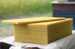 Wax foundation. Or honeycomb base is a plate made of wax with the base of the honeycomb. It is used in beekeeping to give the bees a foundation on which they Royalty Free Stock Images