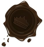 Wax grunge brown seal with crown Stock Images