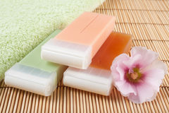 Wax for hair removal. Flower and towel Stock Image